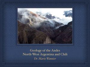 Conférence Dr. Mario Wannier: Géologie des Andes du Nord-ouest argentin